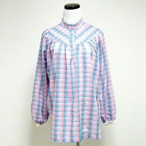 VTG 70s plaid ruffles long sleeve top made in USA